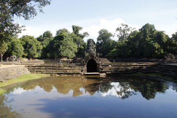 Neak Pean temple on an artificial island at Angkor