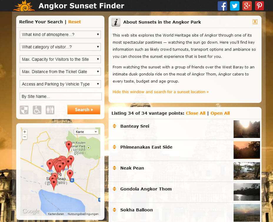 Angkor Sunset Finder