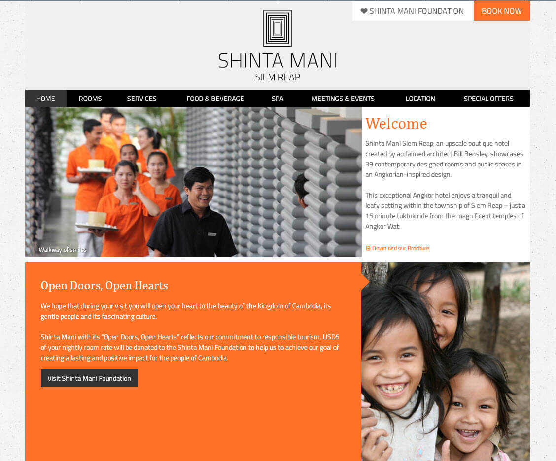 Website of Shinta Mani Hotel in Siem Reap, Cambodia