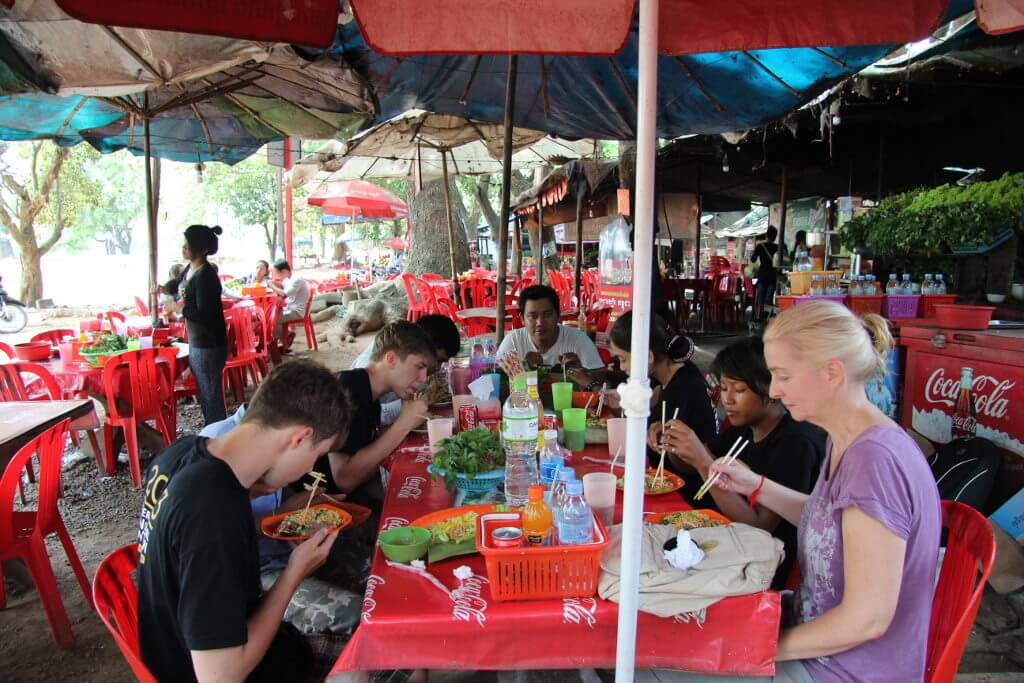 Having lunch after our trip to Angkor