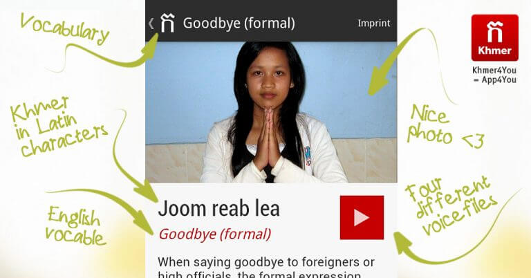 Goodbye formal - Learn Khmer | Khmer4You - App with voice files