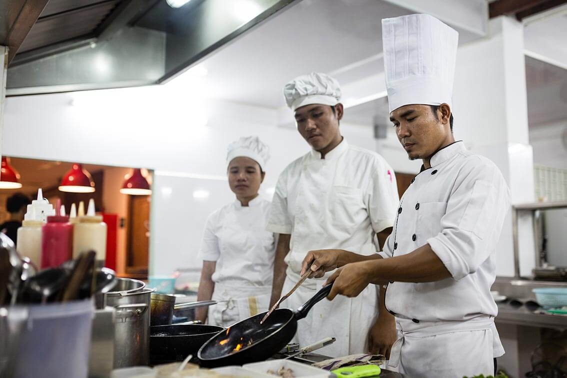 Chef with Trainees Haven Restaurant Siem Reap