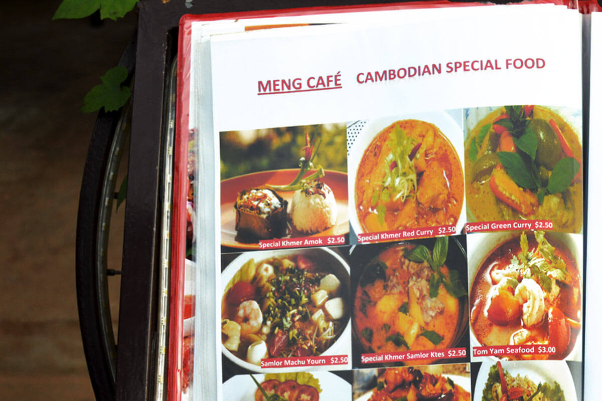 Meng Cafe, Siem Reap - Menu Card