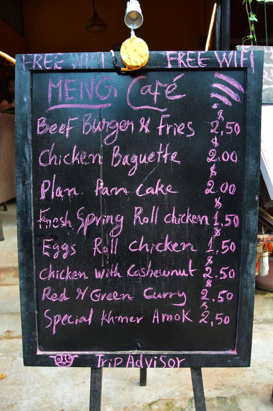 Meng Cafe, Siem Reap - Menu