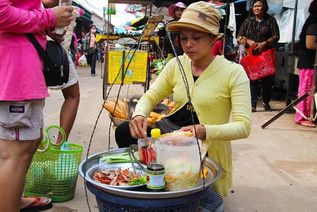 Vendor at a market in Siem Reap