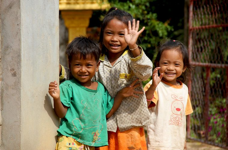 laughing children in Siem Reap