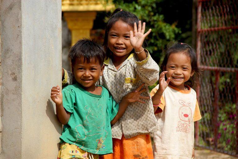 laughing children in Siem Reap