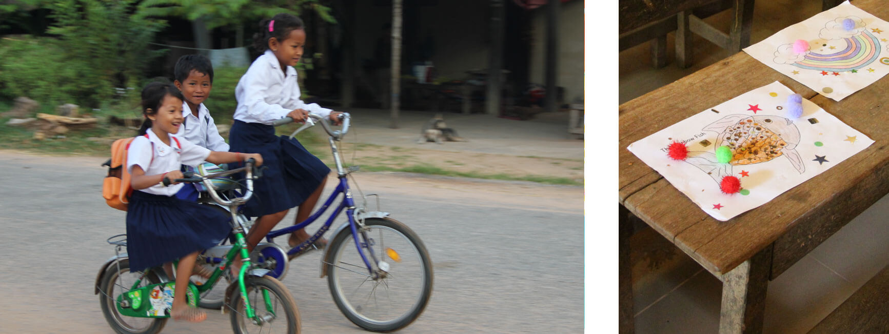 Pupils on a bycicle- Siem Reap