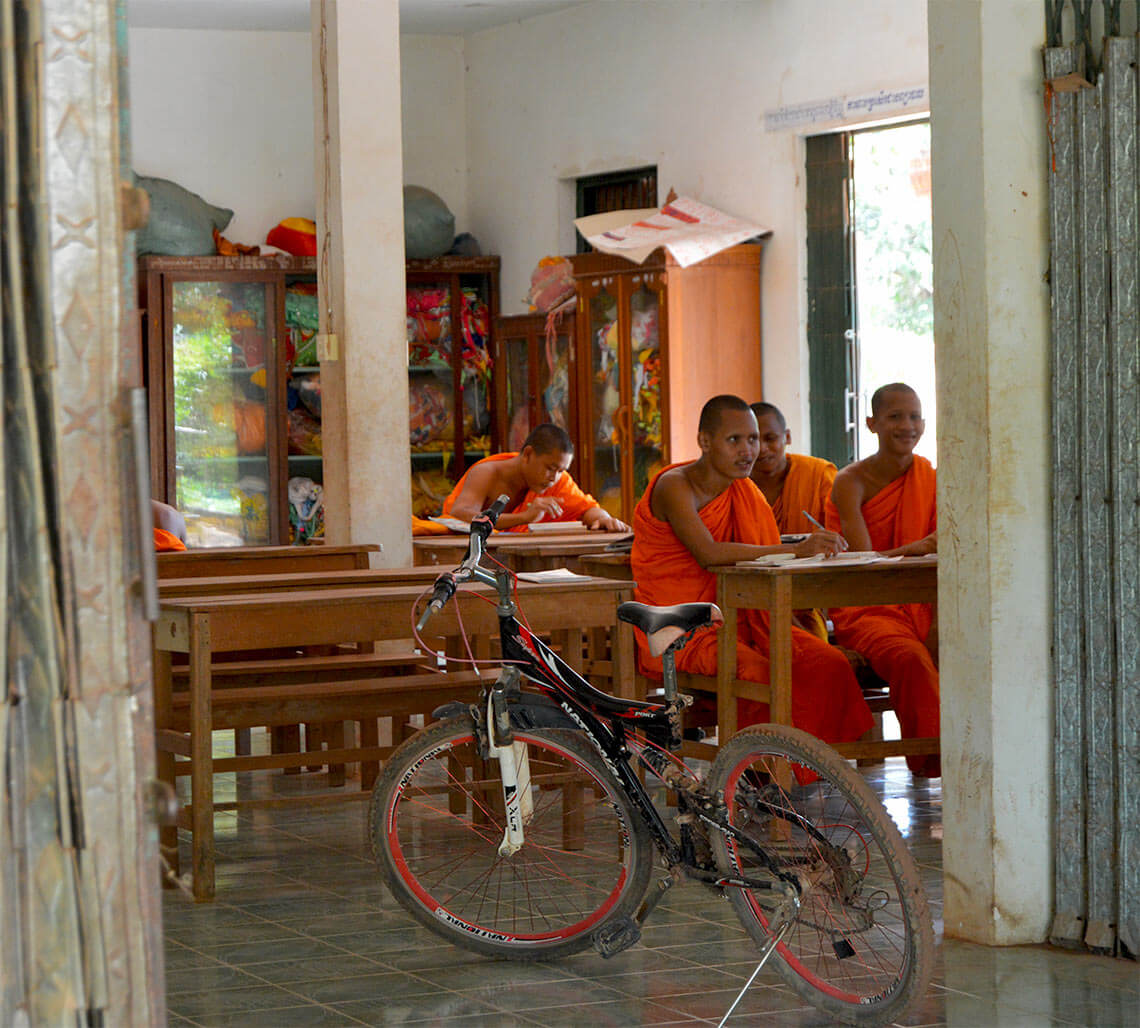 Siem Reap - monks at school in a pagoda