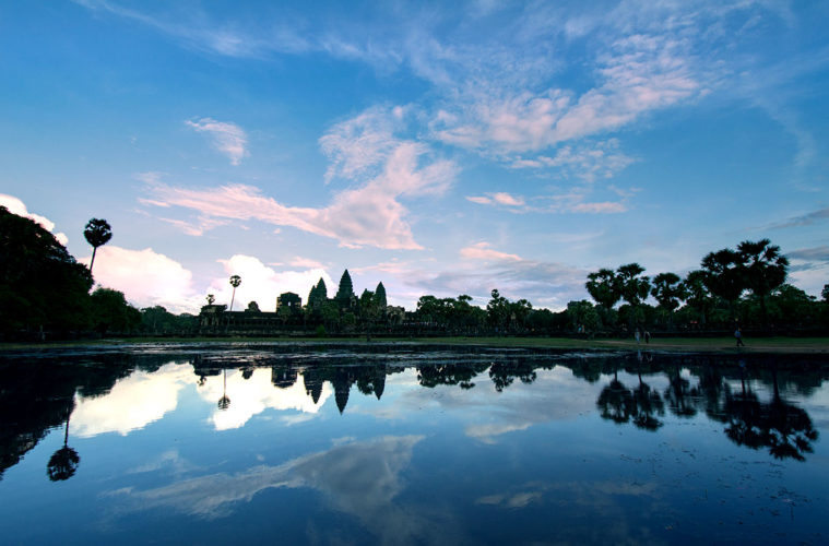 Angkor Wat with blue sky in the afternoon